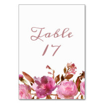 Heirloom Blush Floral Boho Wedding Guest Seating Table Number