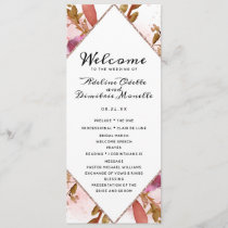 Heirloom Blush Floral Diamond Wedding Ceremony Program