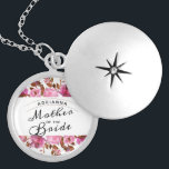 """Heirloom Blush Floral Vintage Mother of the Bride Locket Necklace<br><div class=""""desc"""">Heirloom Blush Floral Watercolor Elegant Vintage Fall or Summer Design with Boho flowers, Hand Painted vines, and plenty of colorful blush pink, marsala, mauve, rose gold, lilac purple, dusty pink, merlot burgundy red, ultra violet leaves and foliage. With Elegant Hand Lettered Script Fonts on a chic Mother of the Bride...</div>"""