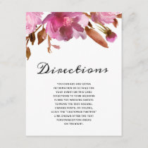Heirloom Blush Floral Watercolor Boho Directions Enclosure Card
