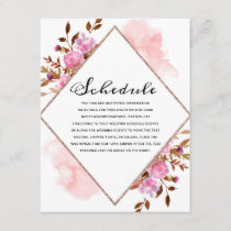 Heirloom Blush Floral Watercolor Elegant Schedule Enclosure Card