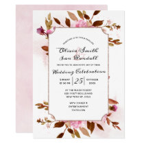 Heirloom Blush Floral Watercolor Wedding Ceremony Invitation