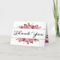 Heirloom Blush Floral Watercolor Wedding Photo Thank You Card