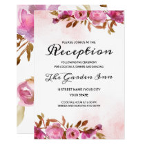 Heirloom Blush Floral Watercolor Wedding Reception Invitation