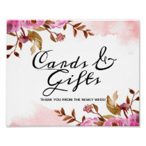 Heirloom Blush Floral Wedding Cards and Gifts Sign