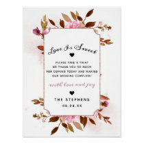Heirloom Blush Floral Wedding Love is Sweet Sign