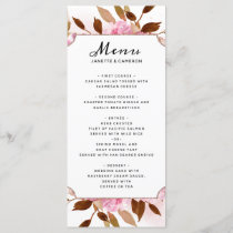Heirloom Blush Floral Wedding Reception Dinner Menu