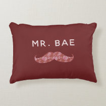 Heirloom Blush Wedding Mr and Mrs Bae Newlywed Accent Pillow