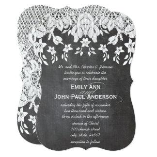 Heirloom Chalkboard and Lace Elegant Wedding Card