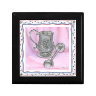 Heirloom Cup & Rattle on Purple Background Jewelry Box