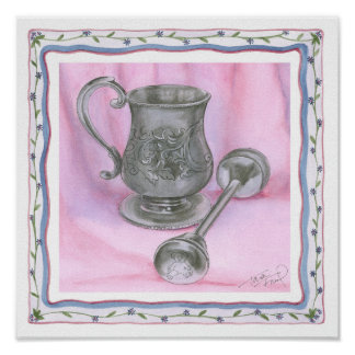 Heirloom Cup & Rattle on Purple Background Poster