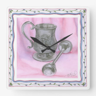 Heirloom Cup & Rattle on Purple Background Square Wall Clock