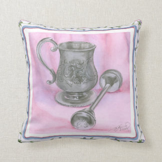 Heirloom Cup & Rattle on Purple Background Throw Pillow