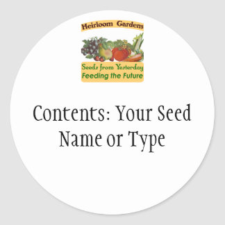 Heirloom Gardens Custom Seed Packet Labels Classic Round Sticker