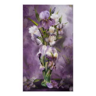 Heirloom Iris In Iris Vase Art Poster Print