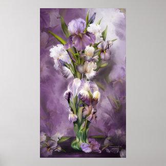 Heirloom Iris In Iris Vase Art Poster/Print Poster