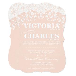 Heirloom Lace Rustic Barn Vintage Pink Wedding Card
