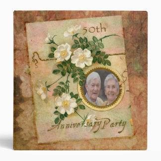 Heirloom Rose 50th Anniversary Personalized Photo 3 Ring Binder