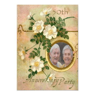 Heirloom Rose 50th Anniversary Personalized Photo Card