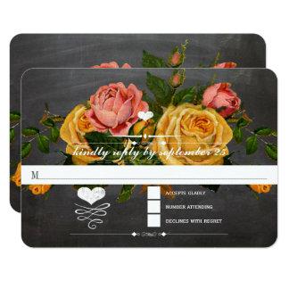 Heirloom Roses Chalkboard Typography RSVP Card