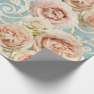 Heirloom Roses with Damask Wrapping Paper