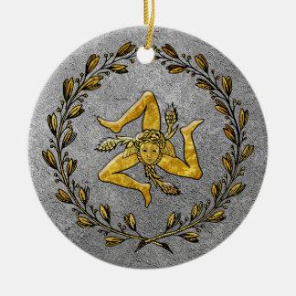 Heirloom Sicilian Trinacria Gold and Silver Ceramic Ornament