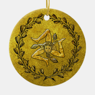 Heirloom Sicilian Trinacria Gold Ceramic Ornament