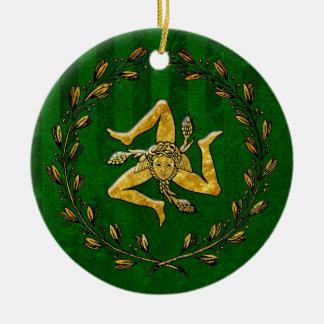 Heirloom Sicilian Trinacria Gold Green Stripe Ceramic Ornament
