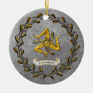 Heirloom Sicilian Trinacria Personalize Ceramic Ornament