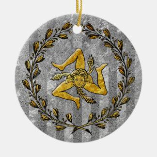 Heirloom Sicilian Trinacria Silver Stripe Ceramic Ornament