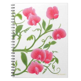 Heirloom Sweet Pea Flowers Notebook