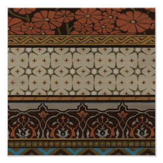 Heirloom Textile with Decorative Patterns Poster