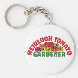 Heirloom Tomato Gardener Basic Round Button Keychain
