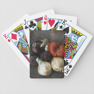 Heirloom tomato, yellow onion, red onion, ginger bicycle playing cards
