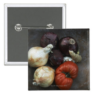 Heirloom tomato, yellow onion, red onion, ginger pinback button