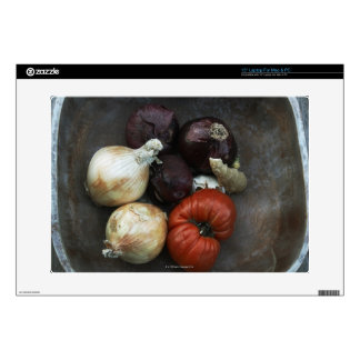 Heirloom tomato, yellow onion, red onion, ginger decals for laptops