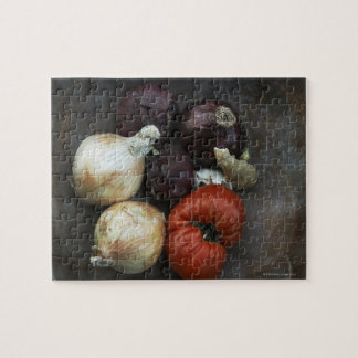 Heirloom tomato, yellow onion, red onion, ginger jigsaw puzzle