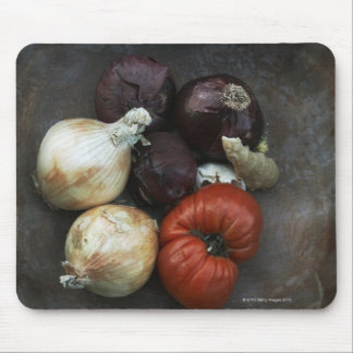 Heirloom tomato, yellow onion, red onion, ginger mouse pad