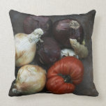 Heirloom tomato, yellow onion, red onion, ginger throw pillows