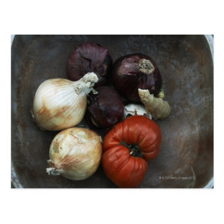 Heirloom tomato yellow onion red onion ginger postcard