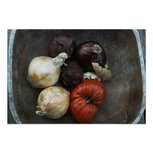 Heirloom tomato, yellow onion, red onion, ginger poster
