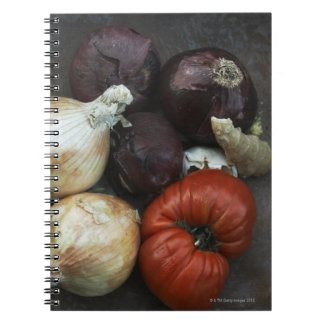 Heirloom tomato, yellow onion, red onion, ginger spiral notebook
