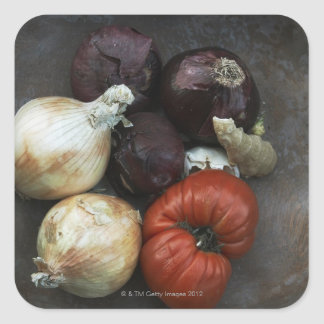 Heirloom tomato, yellow onion, red onion, ginger square sticker