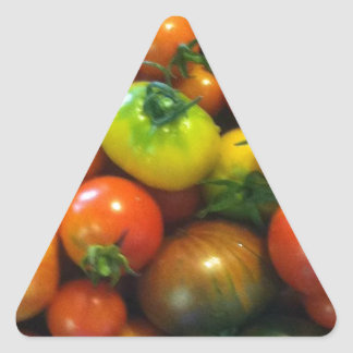 Heirloom tomatoes triangle sticker