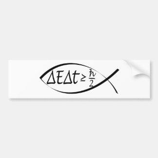 Heisenberg's Uncertainty Principal Inside a Fish Car Bumper Sticker