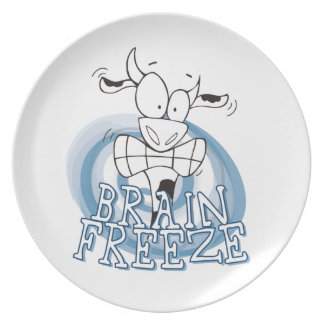 Helada del cerebro con la placa de la vaca platos