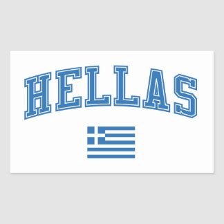 Hélade + Bandera Rectangular Pegatinas
