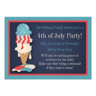 Helado 4to de las invitaciones del fiesta de julio invitacion personal