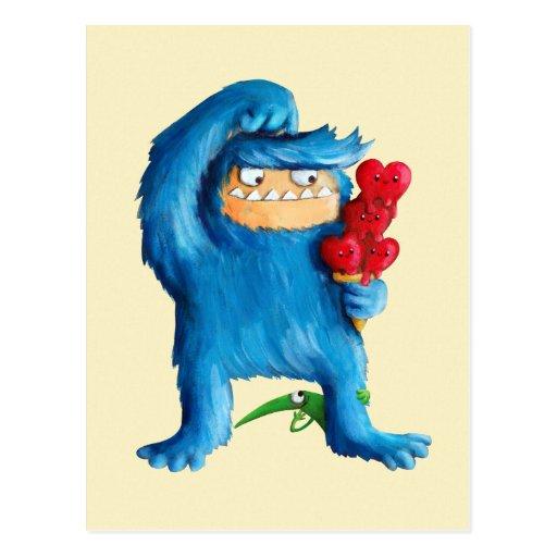 Helado azul del monstruo tarjeta postal