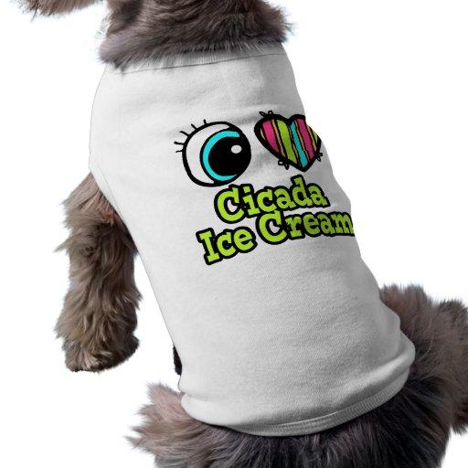 Helado brillante de la cigarra del amor del corazó camiseta de perro